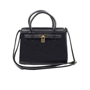 Elegant black lock pebble leather lady bags